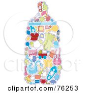Royalty Free RF Clipart Illustration Of A Collage Of Baby Icons Forming A Bottle by BNP Design Studio