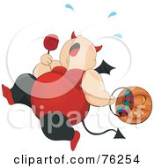 Royalty Free RF Clipart Illustration Of A Chubby She Devil Running And Trick Or Treating On Halloween by BNP Design Studio