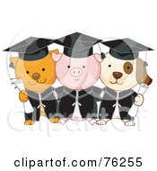 Royalty Free RF Clipart Illustration Of Cat Pig And Dog Graduate Students Holding Diplomas