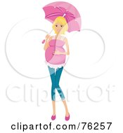 Royalty Free RF Clipart Illustration Of A Pretty Blond Pregnant Woman Walking With An Umbrella