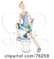 Royalty Free RF Clipart Illustration Of A Man Angrily Plunging A Toilet by BNP Design Studio