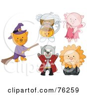 Royalty Free RF Clipart Illustration Of A Digital Collage Of A Cat Monkey Pig Tasmanian Devil And Lion In Halloween Costumes
