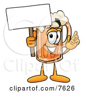 Clipart Picture Of A Beer Mug Mascot Cartoon Character Holding A Blank Sign by Toons4Biz