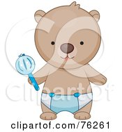 Royalty Free RF Clipart Illustration Of A Baby Boy Bear In A Diaper Holding A Rattle