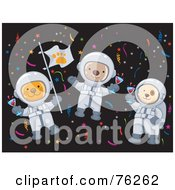Royalty Free RF Clipart Illustration Of Cat Monkey And Dog Astronauts Celebrating In Space by BNP Design Studio