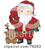 Royalty Free RF Clipart Illustration Of Kris Kringle With A Reindeer Holding A Sack And Present by BNP Design Studio