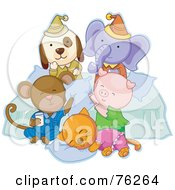 Royalty Free RF Clipart Illustration Of A Dog Elephant Monkey Pig And Cat Having Fun At A Slumber Party