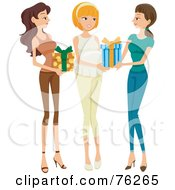 Royalty Free RF Clipart Illustration Of Two Friends Bringing Presents To A Baby Shower For A Pregnant Woman