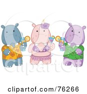 Royalty Free RF Clipart Illustration Of Hawaiian Hippos Drinking Cocktails by BNP Design Studio