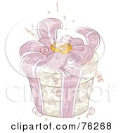Royalty Free RF Clipart Illustration Of A Round Beige Wedding Gift Box With Pink Ribbons And Rings On Top