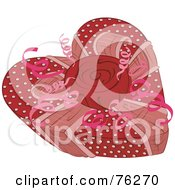 Royalty Free RF Clipart Illustration Of A Polka Dot Heart Shaped Valentines Gift Box With A Rose