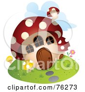 Royalty Free RF Clipart Illustration Of A Unique Mushroom Home by BNP Design Studio