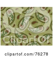 Royalty Free RF Clipart Illustration Of A Brown And Green Seamless Paisley Background Pattern by BNP Design Studio