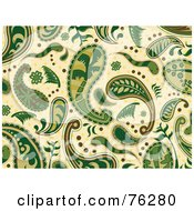 Royalty Free RF Clipart Illustration Of A Green And Beige Seamless Paisley Background Pattern by BNP Design Studio