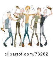 Royalty Free RF Clipart Illustration Of A Group Of Drunk Young Men Drinking Beer With Music Notes