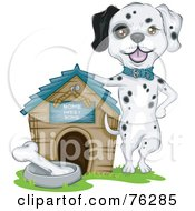 Royalty Free RF Clipart Illustration Of A Proud Dalmatian Dog Presenting Off His House by BNP Design Studio