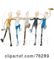 Royalty Free RF Clipart Illustration Of A Group Of Drunk Young Men Drinking And Dancing