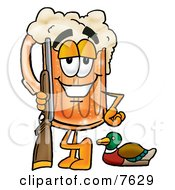 Clipart Picture Of A Beer Mug Mascot Cartoon Character Duck Hunting Standing With A Rifle And Duck by Toons4Biz