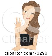 Royalty Free RF Clipart Illustration Of A Stunning Brunette Woman Showing Her Engagement Ring by BNP Design Studio