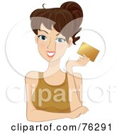 Royalty Free RF Clipart Illustration Of A Pretty Brunette Woman Holding Up A Gold Credit Card