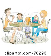 Royalty Free RF Clipart Illustration Of A Family Of Five With Their Dog Eating At A Table by BNP Design Studio