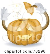 Royalty Free RF Clipart Illustration Of A Friendly Jackolantern Taking His Hat Off And Waving