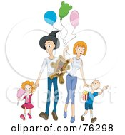 Royalty Free RF Clipart Illustration Of A Happy Family Walking At An Amusement Park by BNP Design Studio