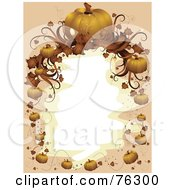 Royalty Free RF Clipart Illustration Of A Beige And Orange Halloween Pumpkin Frame Around White by BNP Design Studio