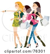 Royalty Free RF Clipart Illustration Of A Group Of Stylish Young Ladies Getting Excited And Shopping