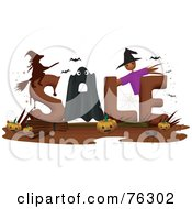 Royalty Free RF Clipart Illustration Of The Word Sale With Halloween Items