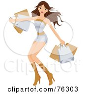 Royalty Free RF Clipart Illustration Of A Sexy Brunette Woman With Shopping Bags In Hand