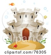 Underwater Castle With A Fish Bubbles And Seaweed