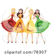 Royalty Free RF Clipart Illustration Of A Group Of Four Ladies Wearing SALE Dresses