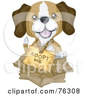 Royalty Free RF Clipart Illustration Of An Adorable Beagle Puppy Wearing An Adopt Me Sign And Sitting In A Box