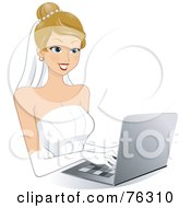 Royalty Free RF Clipart Illustration Of A Beautiful Young Bride Shopping Online