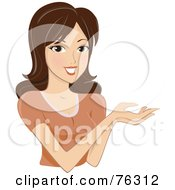 Royalty Free RF Clipart Illustration Of A Pretty Brunette Woman Holding Out Her Hands