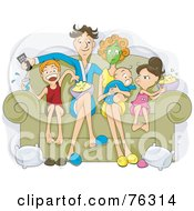 Royalty Free RF Clipart Illustration Of A Relaxed Family Sitting On A Couch Eating Popcorn And Watching A Movie On Their Couch by BNP Design Studio