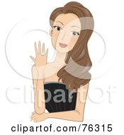 Royalty Free RF Clipart Illustration Of A Stunning Brunette Lady Showing Her Engagement Ring by BNP Design Studio