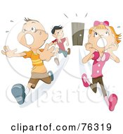 Scared Girl And Boys Running From A Door