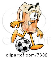 Clipart Picture Of A Beer Mug Mascot Cartoon Character Kicking A Soccer Ball by Toons4Biz