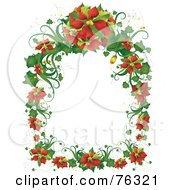 Royalty Free RF Clipart Illustration Of A Christmas Poinsettia Frame by BNP Design Studio