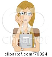 Royalty Free RF Clipart Illustration Of A Dirty Blond Lady Adjusting Her Glasses And Holding A Folder