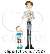 Royalty Free RF Clipart Illustration Of A Boy Watching His Dad Put On A Tie by BNP Design Studio