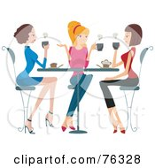 Royalty Free RF Clipart Illustration Of A Group Of Young Ladies Chatting Over Coffee