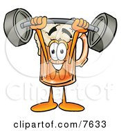Clipart Picture Of A Beer Mug Mascot Cartoon Character Holding A Heavy Barbell Above His Head by Toons4Biz