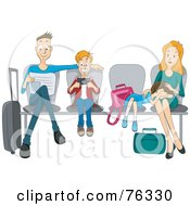 Royalty Free RF Clipart Illustration Of A Dad Son Daughter And Mother Sitting In Chairs At An Airport by BNP Design Studio