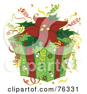 Royalty Free RF Clipart Illustration Of A Christmas Present With Snowman Wrapping Paper Confetti And A Poinsettia Bow