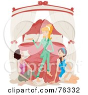 Royalty Free RF Clipart Illustration Of A Young Blond Woman And Two Brunette Friends Talking At A Sleepover