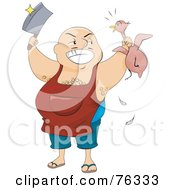 Royalty Free RF Clip Art Illustration Of A Fat Hairy Butcher Man Holding A Knife And Chicken