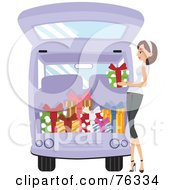 Royalty Free RF Clipart Illustration Of A Pleasant Lady Loading Christmas Presents Into Her Van by BNP Design Studio